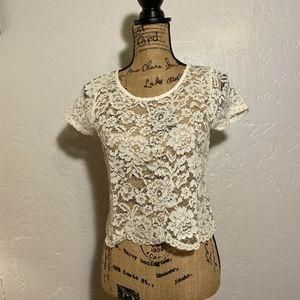 Ambiance semi-sheer, lace blouse, size medium